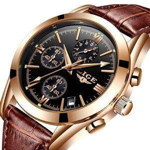 Quartz Watch Gold Black Date Leather Wristwatch